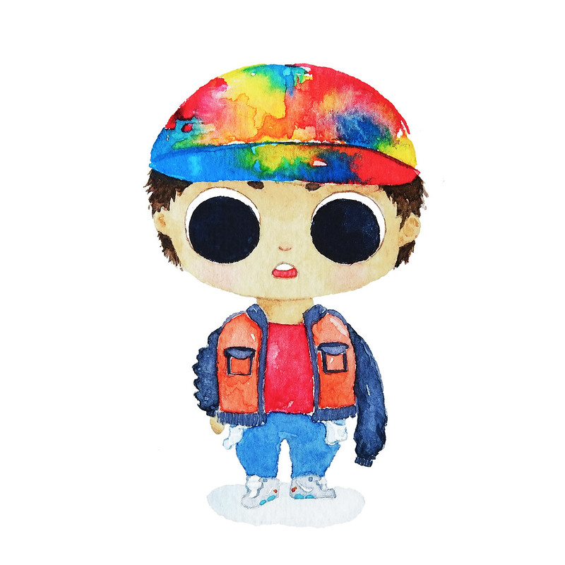 Halloween Costume Watercolor Illustration Painting Back To The Future Marty McFly Jr