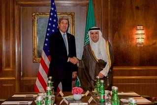 Secretary Kerry Shakes Hands With Saudi Arabia Foreign Minister Adel al-Jubeir