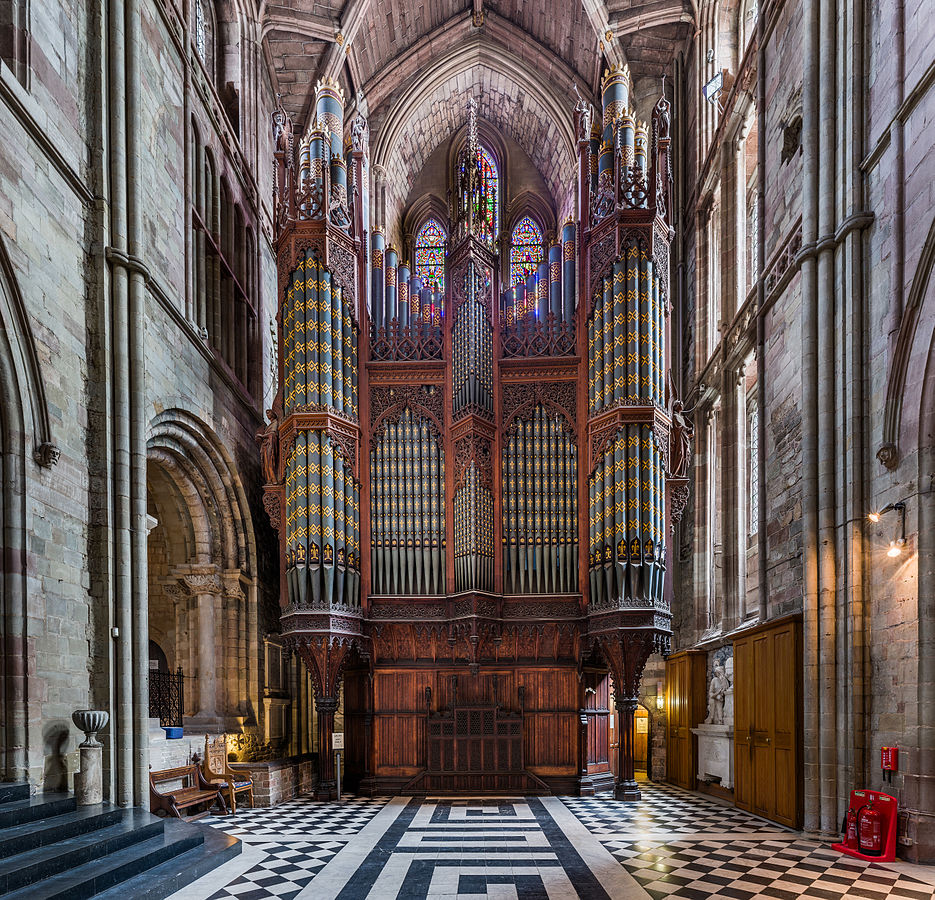 Worcester Cathedral - The transept organ-case. Credit: David Iliff