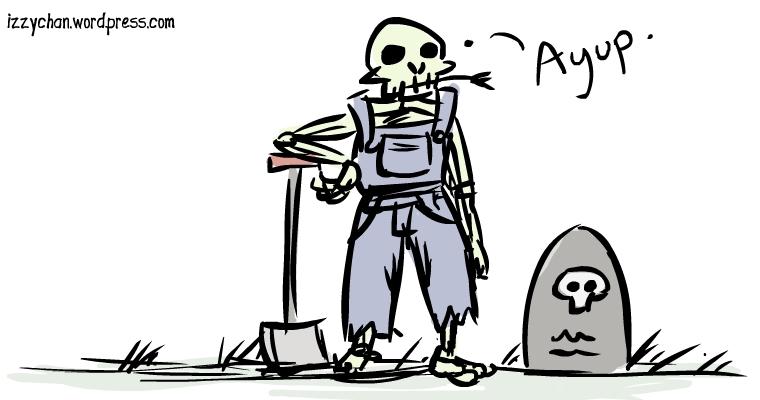skeleton graveyard shovel overalls