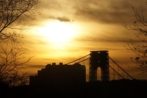 George Washington Bridge Sunset Silhouette