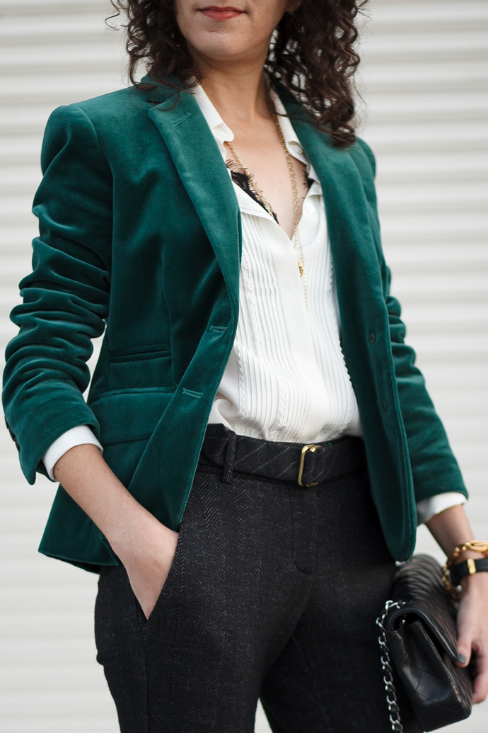 Holiday outfit idea, velvet blazer and tuxedo blouse