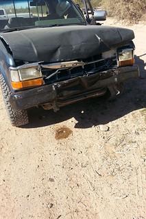 Blue dodge Dakota wreck crash