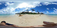 "The Punawai a.k.a. Lanikai Beach in Kailua, O'ahu, Hawai'i with Nā Mokulua (tr. The Two Islands) a.k.a. ""The Mokes"" in the background - A 360° Equirectangular VR"
