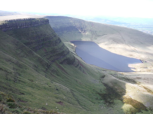 Llyn y Fan Fach at bottom of Bannau Sir Gaer