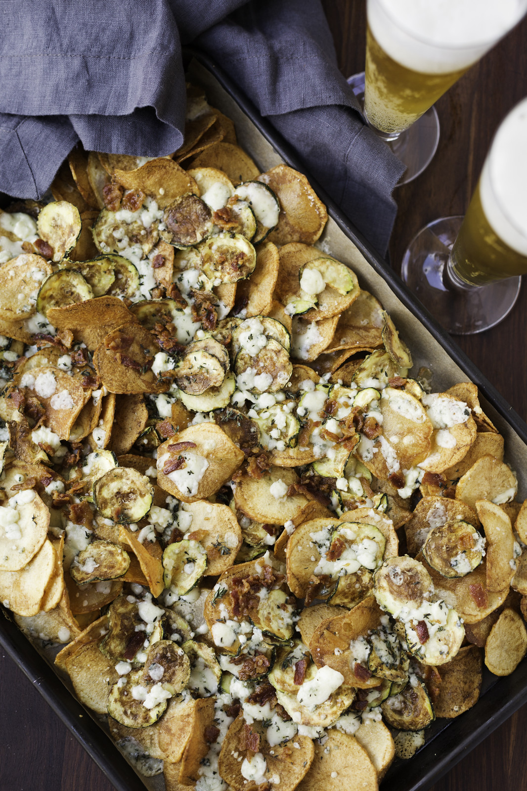 Potato and Zucchini Chips with Bacon gorgonzola and thyme