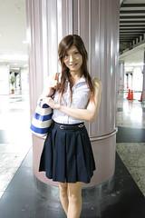 Sleeveless top and Navy miniskirt_5