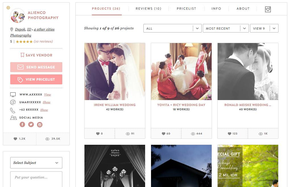 Browsing one of the photography vendor's project showcase page - its like browsing a chic wedding magazine online