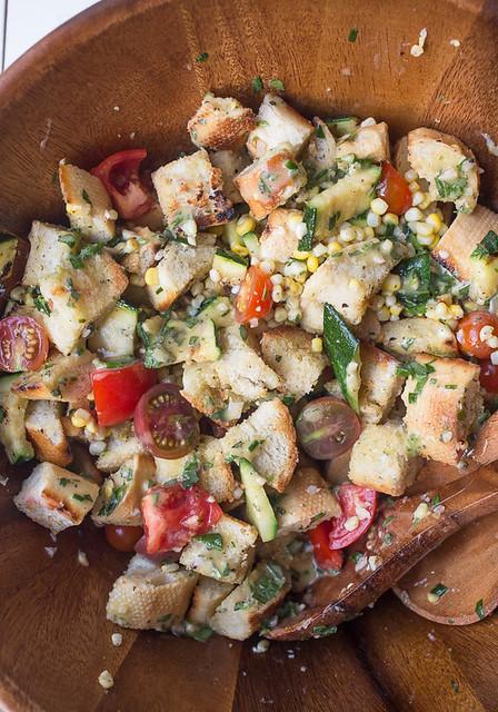 Grilled Sweet Corn and Zucchini Panzanella Salad