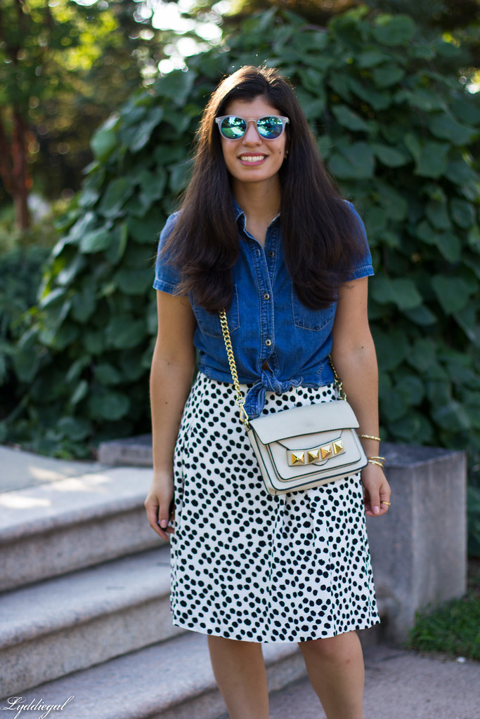 knotted chambray shirt, dalmatian print skirt, linea pelle bag-3.jpg