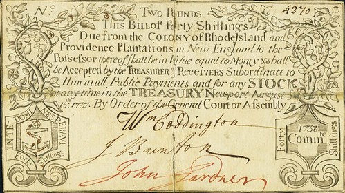 Rhode Island August 15, 1737 2 Pounds note