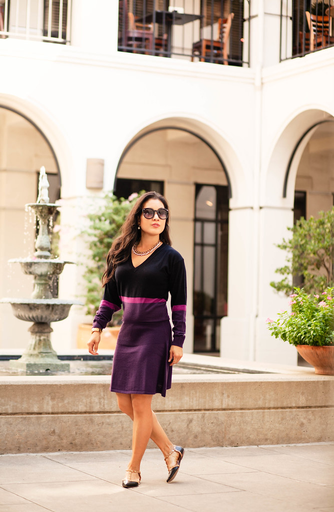 cute & little blog | petite fashion | lacoste colorblock sweater dress, studded flats | fall outfit