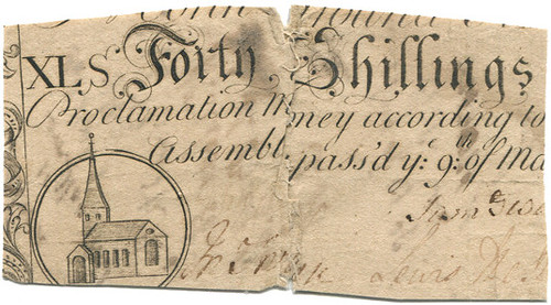 British Colony Carolina, colonial currency, 40 shillings