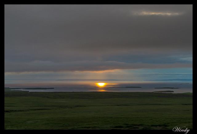 Fotografías del sol de medianoche en Vesturland - Fiordo Kolgrafafjördur