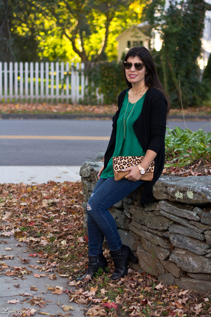 green silk blouse, black cardigan, leopard clutch-4.jpg