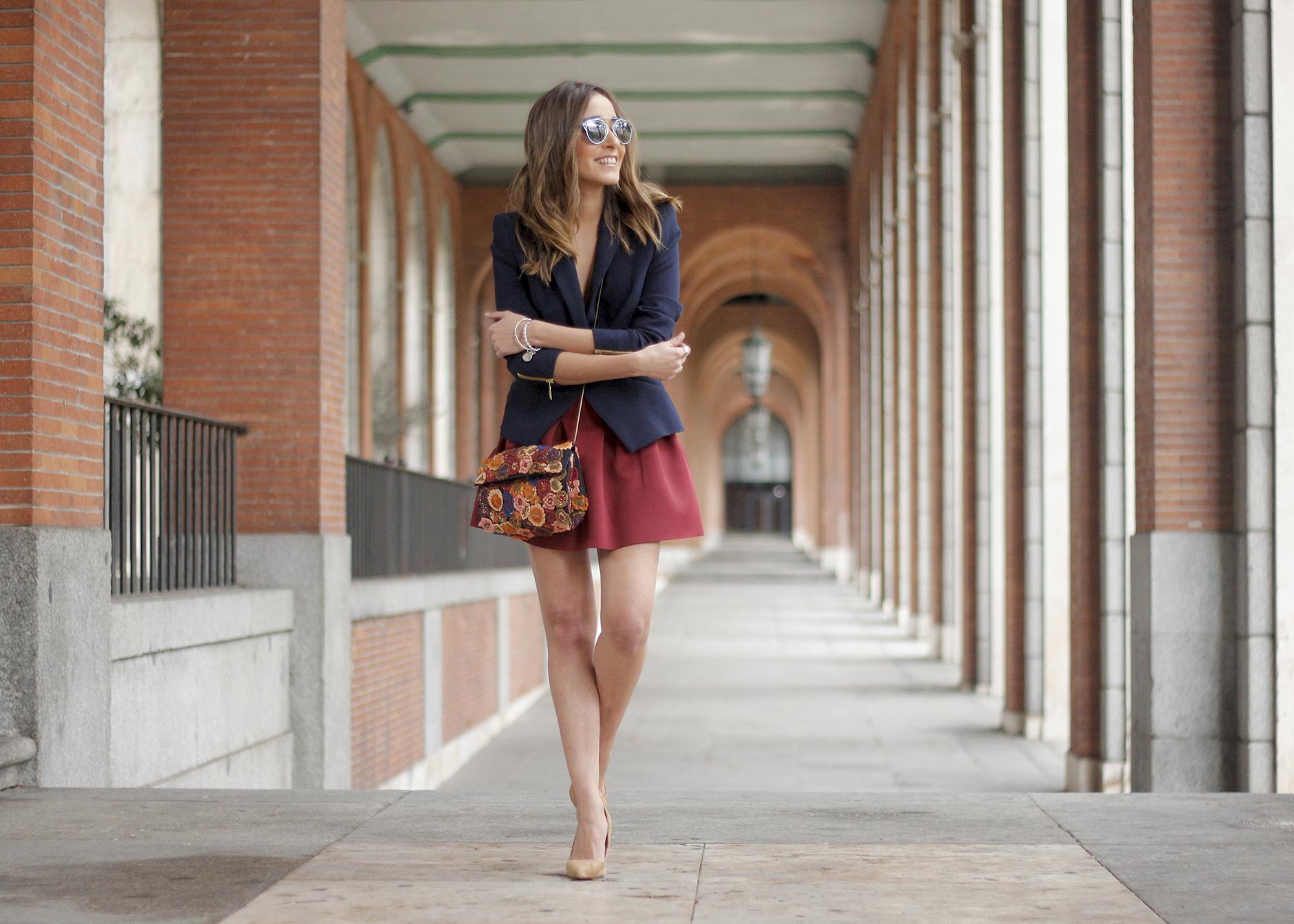 Blue Blazer Burgundy Skirt Outfit17