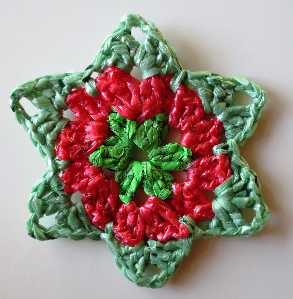 Crochet recycled plastic bags - Below I Have Two Different Sets Of Christmas Stars One Is Crocheted With Recycled Plastic Bags Or Plarn And Then The Other Matching One Is Done In Acrylic