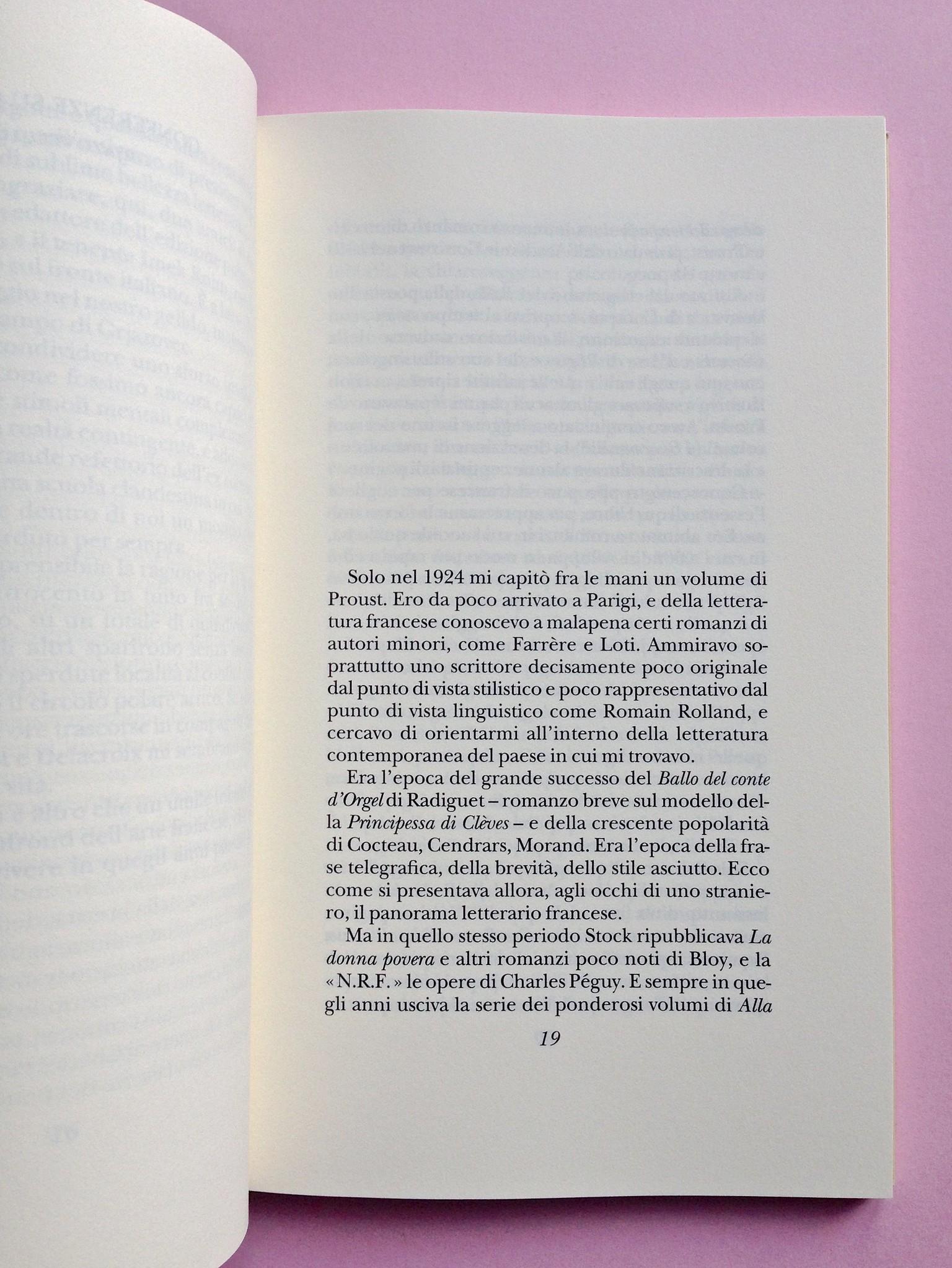 Proust a Grjazovec, di Józef Czapski. Adelphi 2015. Resp. grafica non indicata. Incipit, a pag. 19 (part.), 1