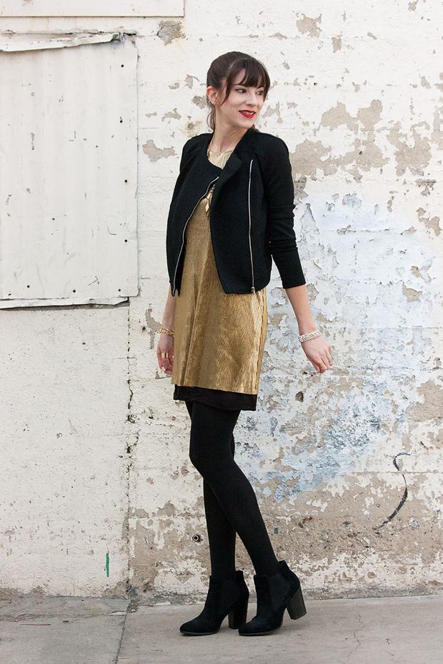 Gold Bar III dress, bar3, #settingthebar, Black moto jacket