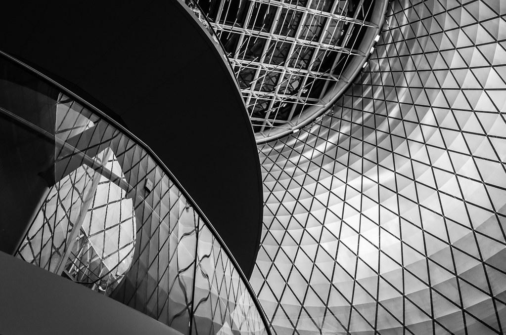 Fulton Center staircase, reflection, and rotunda