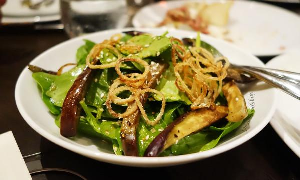 04 Baby Spinach Salad, Grilled Eggplant & Pickled Ginger Dressing