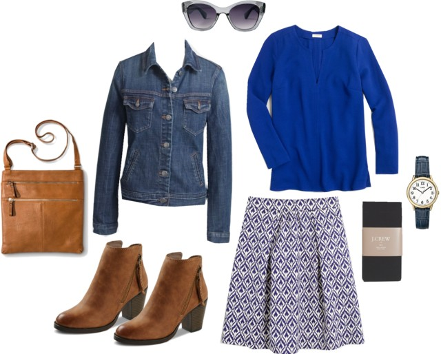 I Think Ikat: J.Crew Factory ikat skirt, cobalt blue blouse, how to wear a denim jacket, cognac ankle boots and purse | Style On Target