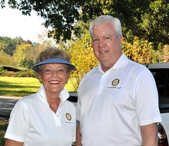 L-R: Sandra Blake (Pinehurst Rotary Club) and Kent Thompson from the Cary Rotary Club.