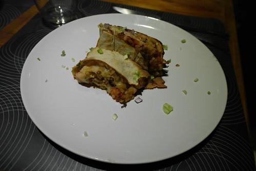 rottolone di pane carasau con lenticchie, finocchio e moscardini