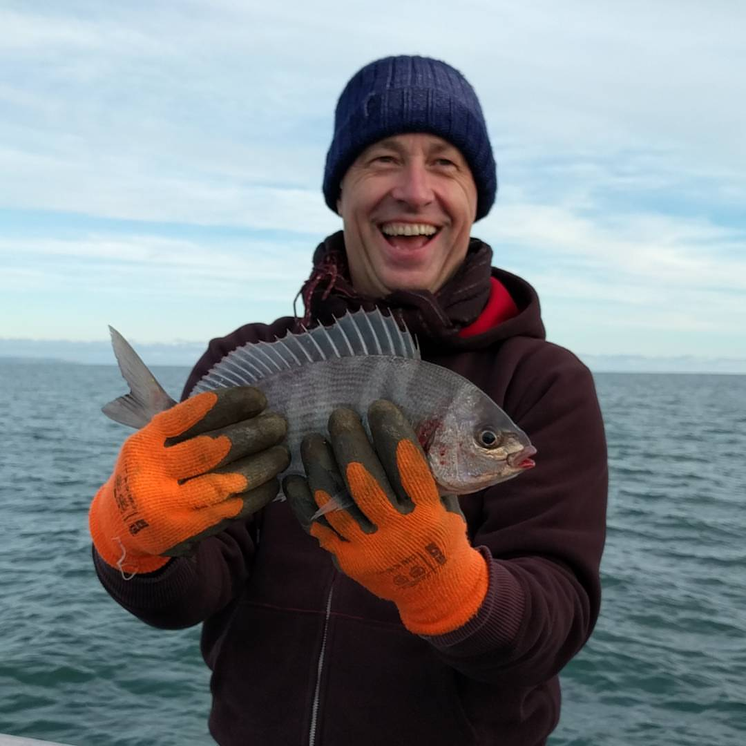 First time fisherman from Belgium on a mid November 4hr trip. 1 of 6 Bream caught that afternoon #amarisaweymouth