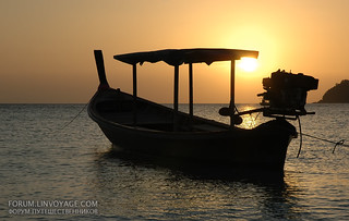 Longtail fisherman boat at sunset. Lipe island, Thailand