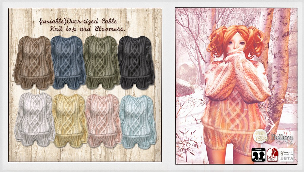 {amiable}Over-sized Cable Knit top and Bloomers@the Shiny Shabby(50%OFF SALE). - SecondLifeHub.com