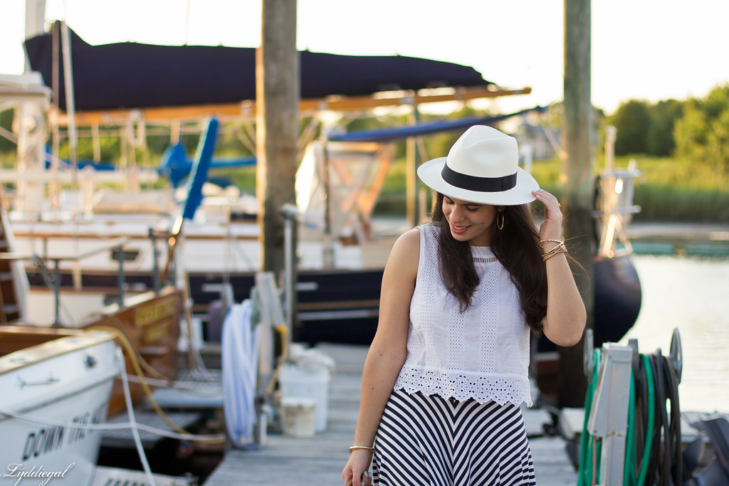 white eyelet lace crop top, striped skirt, panama hat-4.jpg
