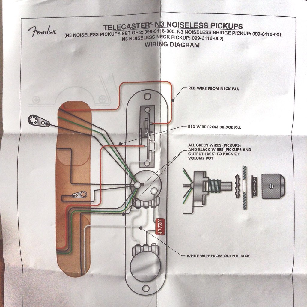 Fender Telecaster N3 Noiseless Pickups Wiring Diagram