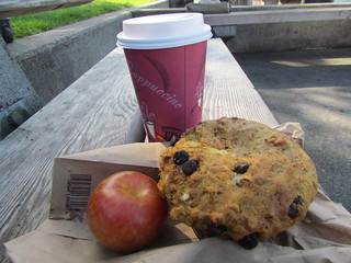 Banana Choc-Chip Muffin and Chai from Cinnamon Works with plum