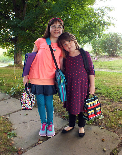 Julia and Lucy on the first day of school