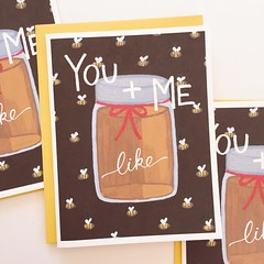 "Honey & Bee Card    TO BUY: Comment with your email address, and you'll receive a secure checkout link.    Price: $8.00.    Some things just bee-long together.     No. 3 in our ""you & me"" series features a full-to-the-brim honey jar on a background of buz"