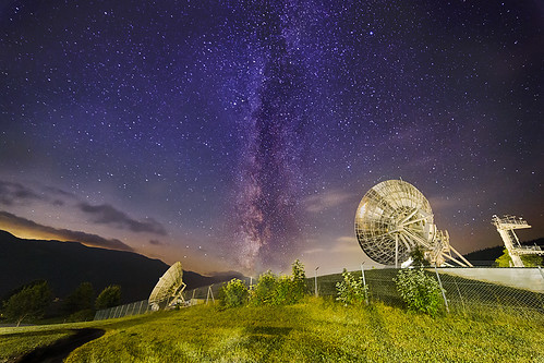 longexposure mountains alps nature night landscape outdoor satellite communication galaxy land a1 galaxie aflenz milkyway milchstrasse earthstation greatphotographers erdfunkstelle greaterphotographers grassnitz comstation