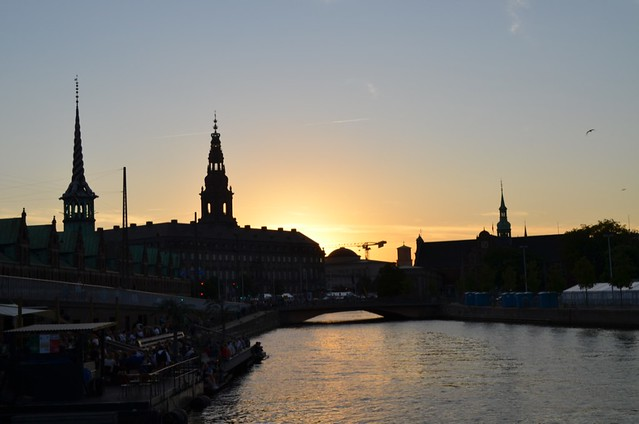 sunset over Copenhagen canal with Christiansborg Slot palace
