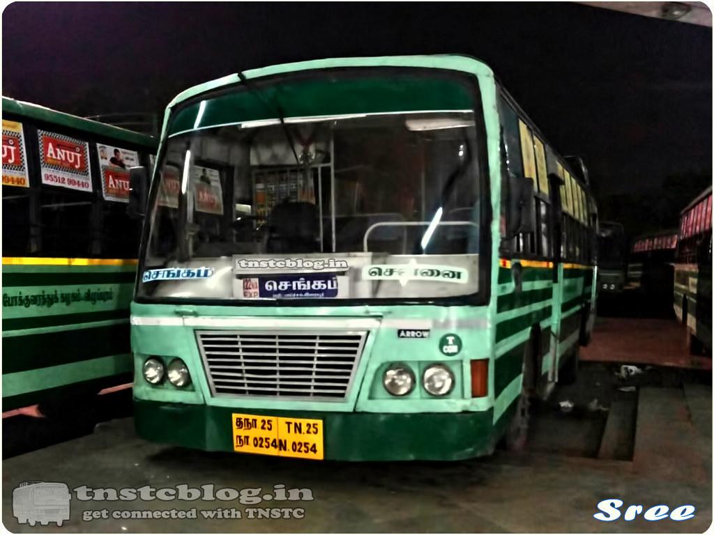 TN-25N-0254 of Chengam Depot Route 122NA Chengam Chennai via Tiruvannamalai, Gingee, Melmaruvathur, Perungalathur.