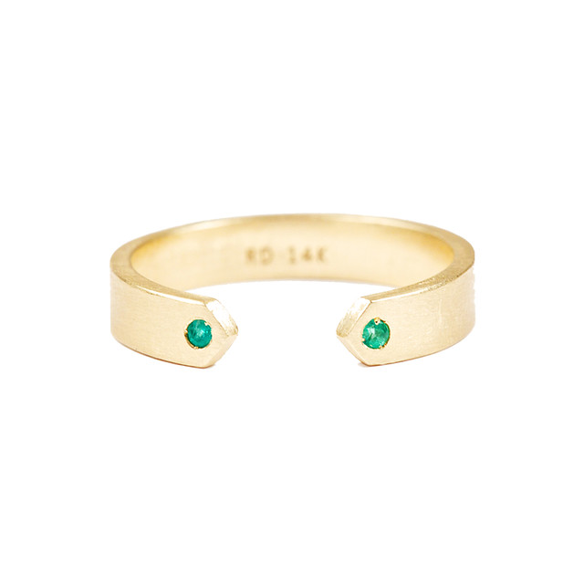 emerald split band ring by Rosedale Fine Jewelry
