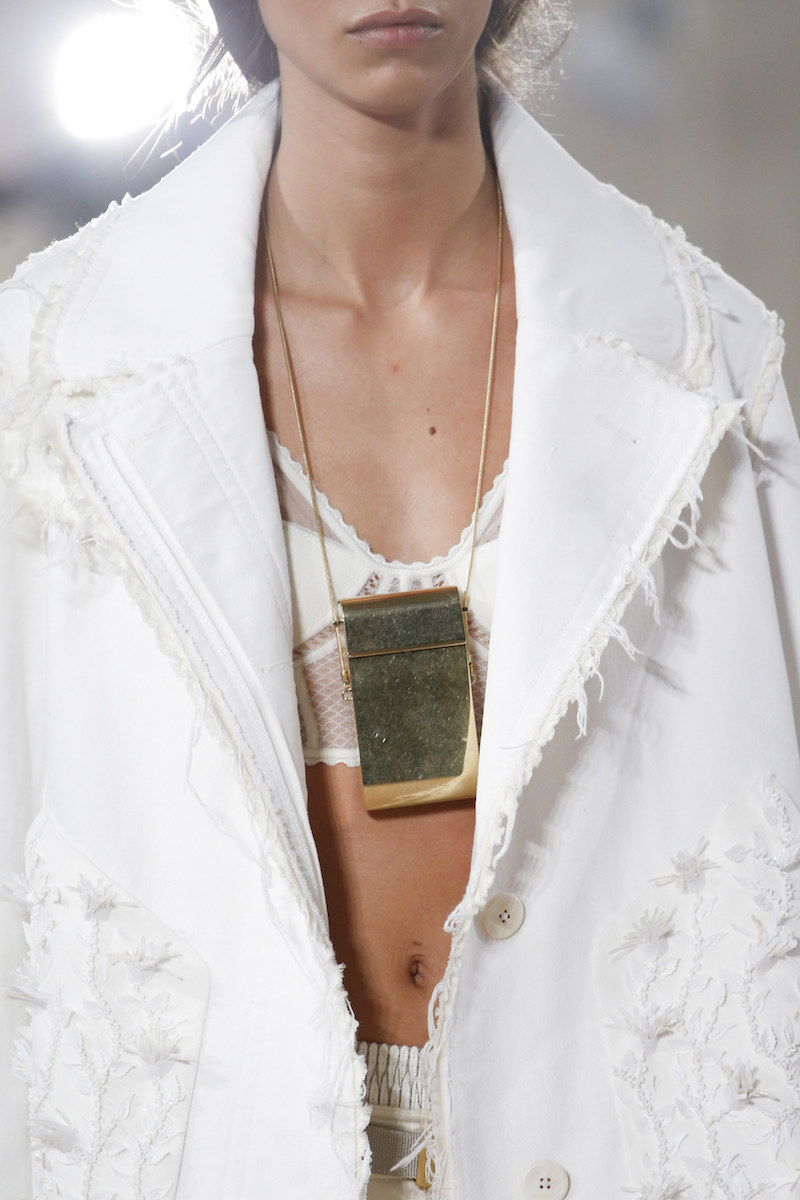BALENCIAGA SS16 details cigarette necklace raw edge jacket ivory MODERN LEGACY