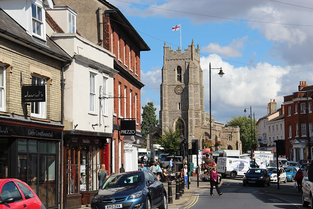 St Peter's Church from Gainsborough St, Sudbury, Suffolk