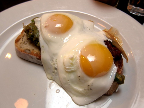Chorizo jam, guacamole, fried egg on toasted sourdough