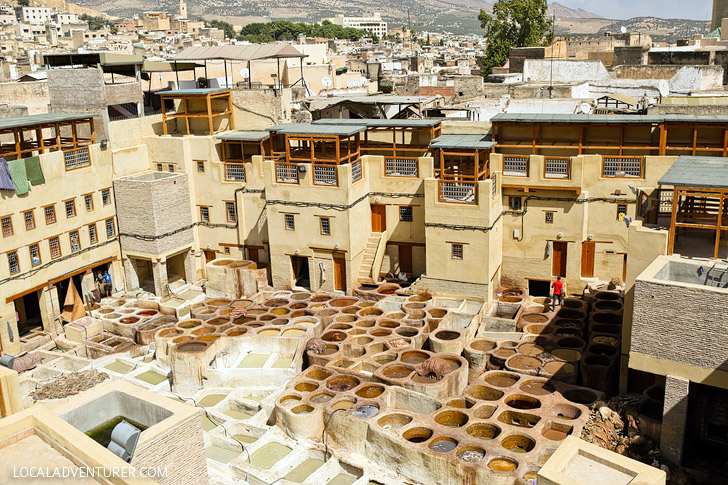 Colorful Sights and Odd Smells of the Chouara Tannery in Fes Morocco.