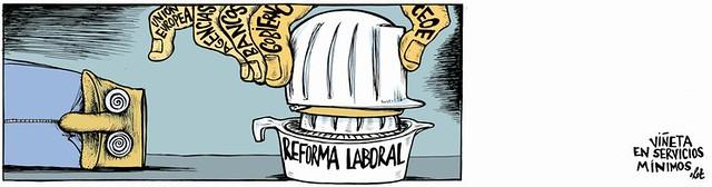"""""""reforma laboral"""" obra participant primer concurs internacional d´humor gràfic sobre drets laborals"""