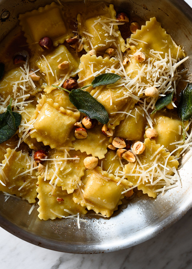 Sage and Brown Butter Pasta with Hazelnuts via forkknifeswoon.com