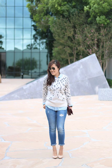 simplyxclassic, leopard sweater, fall fashion, layered look, denim on denim, gap style, gapstyle, mom blog, style, fashion, blogger, orange county, madewell, oxblood