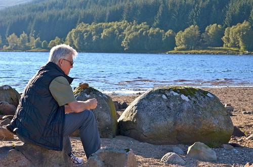 Luke enjoying a fall evening beside Loch Laidon, a short walk from the hotel