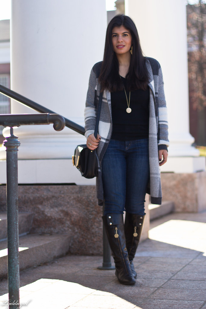 grey plaid sweater, yoga jeans, black knee high boots-2.jpg