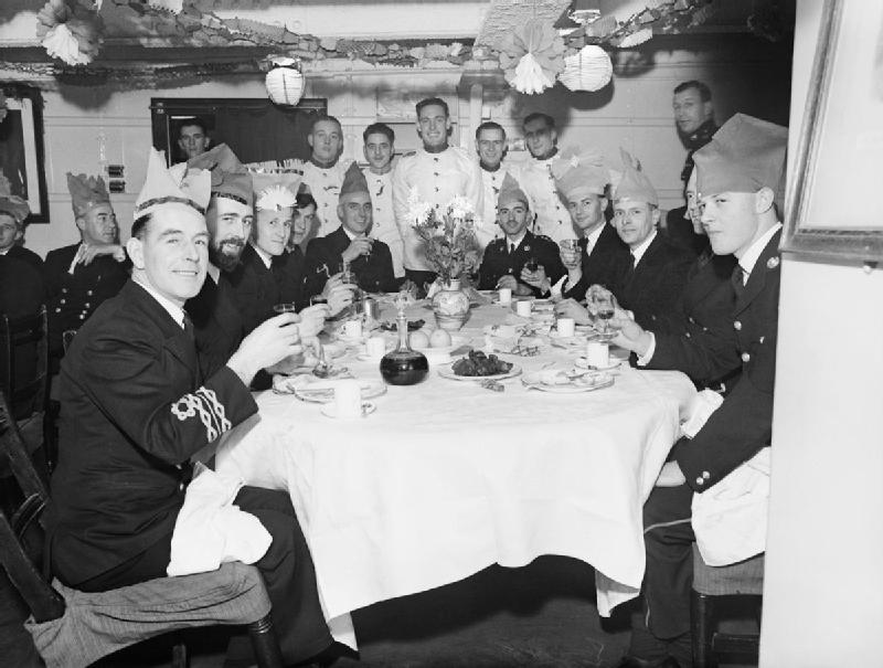 Christmas dinner in the wardroom of HMS MALAYA at Scapa Flow, 25 December 1942